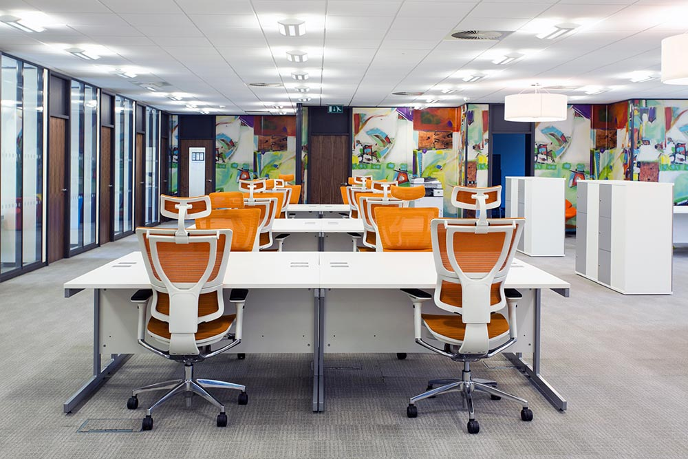 Our shared Workspace with modern ergonomic chairs